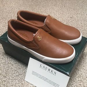 Ralph Lauren RIA Leather Sneakers Brown New 7.5B